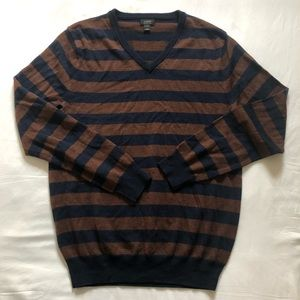 J crew striped navy and brown merino wool sweater